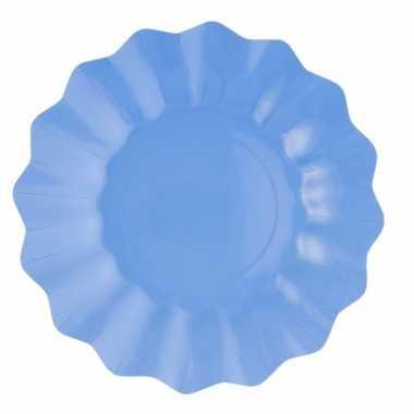 Zeeblauwe diepe kartonnen bordjes 21 cm