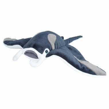 Zeedieren knuffels mantarog grijs 35 cm