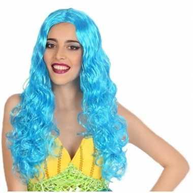 Zeemeermin verkleed pruik blauw voor dames