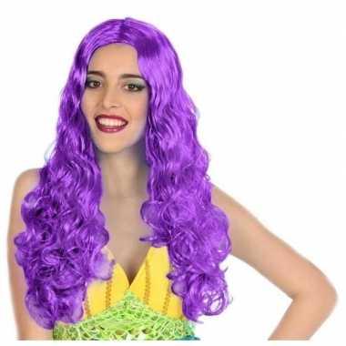 Zeemeermin verkleed pruik paars voor dames