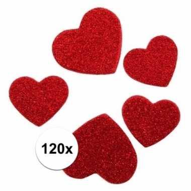 Zelfklevende hartjes met glitters 120 stuks