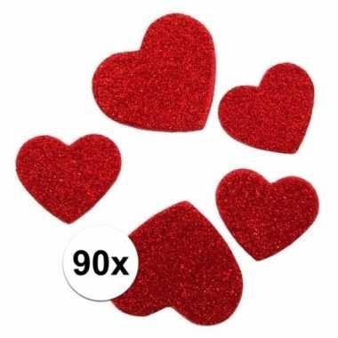 Zelfklevende hartjes met glitters 90 stuks