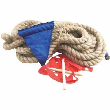 Zeskamp spellen touwtrekken