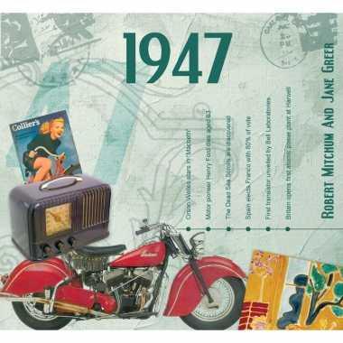 Zeventigste verjaardag kaart met hits uit 1947