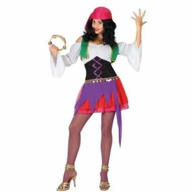 Zigeunerin outfit paars/roze voor dames