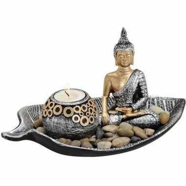 Zilver/goud boeddha beeldje en waxine/theelicht houder 25 cm