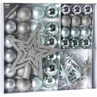 Zilver/ijsblauwe kerstversiering kerstballen set 45 delig