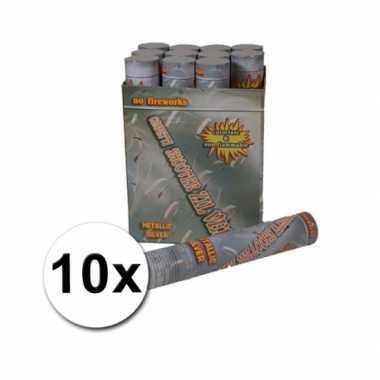 Zilveren confetti shooters 30 cm 10 st