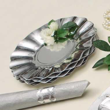 Zilveren diepe kartonnen bordjes 21 cm