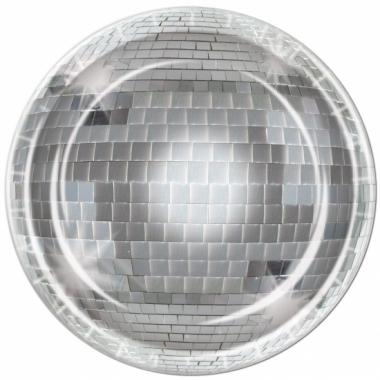 Zilveren disco bal borden 8 stuks