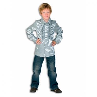 Zilveren disco blouse voor jongens