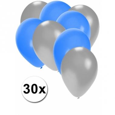 Zilveren en blauwe feestballonnen 30x