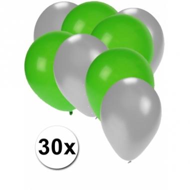 Zilveren en groene feestballonnen 30x