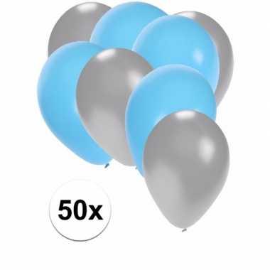 Zilveren en lichtblauwe feestballonnen 50x
