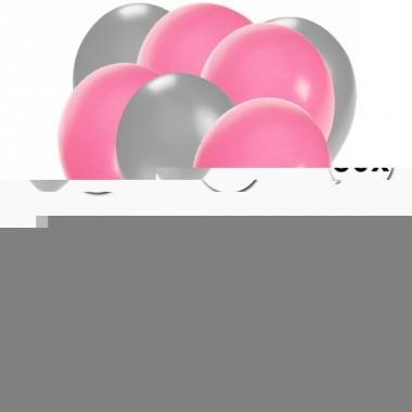 Zilveren en lichtroze feestballonnen 30x