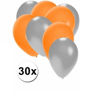 Zilveren en oranje feestballonnen 30x