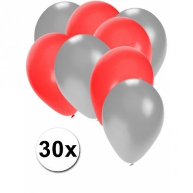 Zilveren en rode feestballonnen 30x
