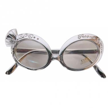 Zilveren feest bril met diamant