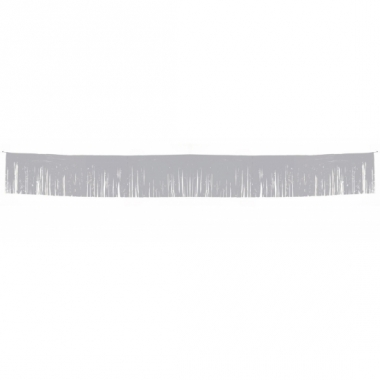 Zilveren franje slinger van 6 meter