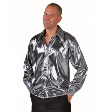 Zilveren glimmende blouse voor heren