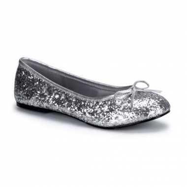 Zilveren glitter ballerinas met strik