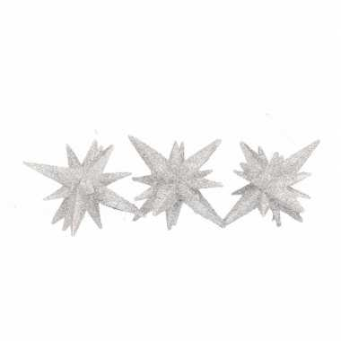 Zilveren glitter kerststerren 7,5 cm
