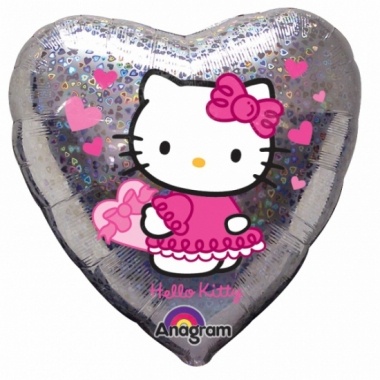 Zilveren hello kitty folie ballon 45 cm