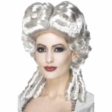 Zilveren keizerin pruik voor dames