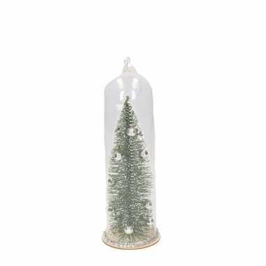 Zilveren kerstboom in stolp kerstversiering hangdecoratie 22 cm