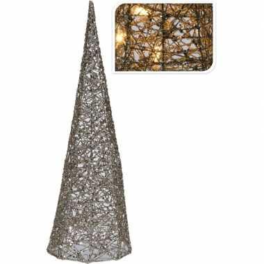 Zilveren kerstverlichting kegel piramide 40 cm