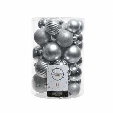 Zilveren kerstversiering kerstballenset 34 stuks