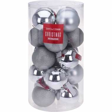 Zilveren kerstversiering kerstballenset kunststof 12 cm