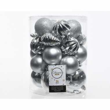 Zilveren kerstversiering kunststof kerstballenset 34 stuks