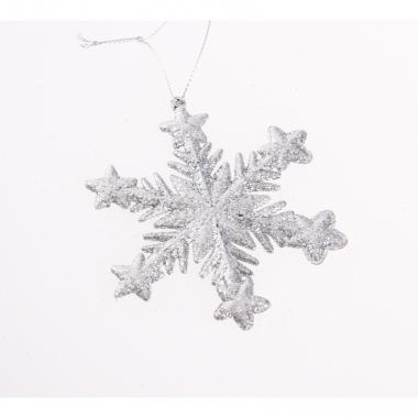 Zilveren kerstversiering sneeuwvlok met glitters type 1