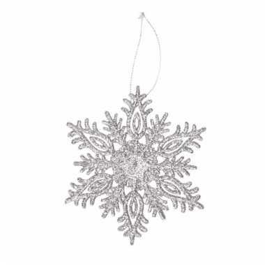 Zilveren kerstversiering sneeuwvlok met glitters type 3