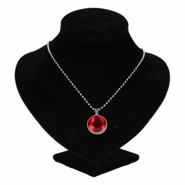 Zilveren ketting met rode robijn chunck
