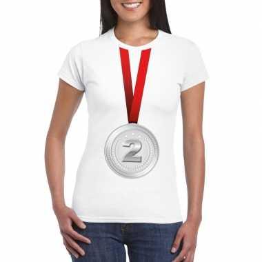 Zilveren medaille kampioen shirt wit dames