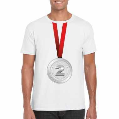 Zilveren medaille kampioen shirt wit heren