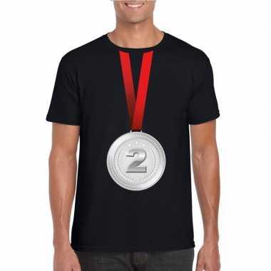 Zilveren medaille kampioen shirt zwart heren