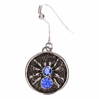 Zilveren oorbellen met blauwe spin drukknoop