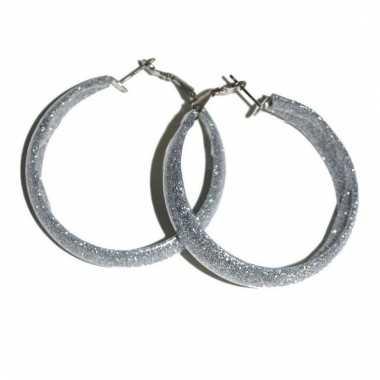 Zilveren oorbellen met glitters