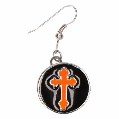 Zilveren oorbellen met oranje kruis drukknoop