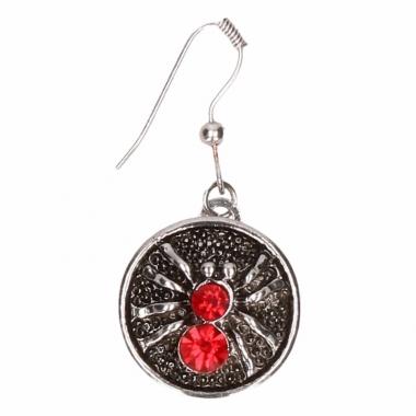 Zilveren oorbellen met rode spin drukknoop