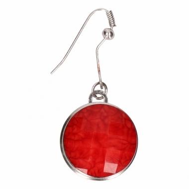 Zilveren oorbellen met rode steenje drukknoop