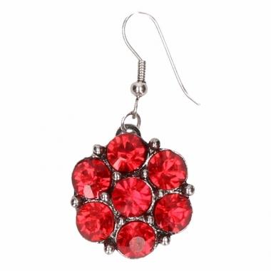 Zilveren oorbellen met rode steentjes drukknoop