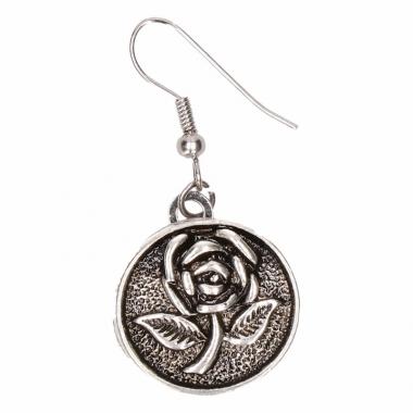 Zilveren oorbellen met roos drukknoop