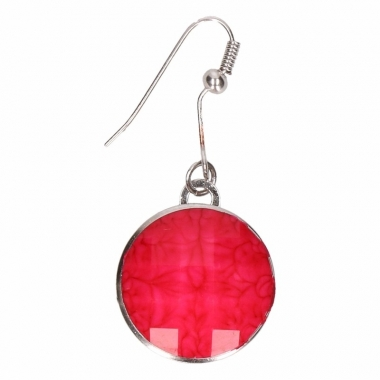 Zilveren oorbellen met roze steenje drukknoop