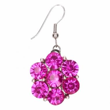 Zilveren oorbellen met roze steentjes drukknoop