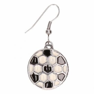 Zilveren oorbellen met voetbal drukknoop