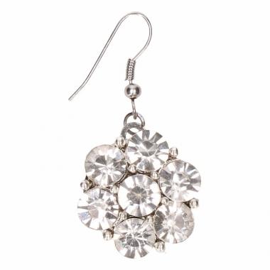 Zilveren oorbellen met zilveren steentjes drukknoop